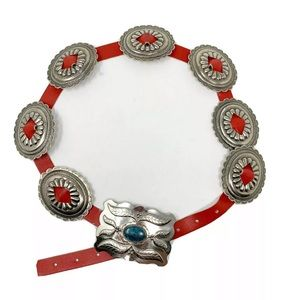 Vintage Silver and turquoise western concho belt